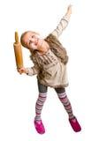 Grappig meisje met deegrol Stock Fotografie