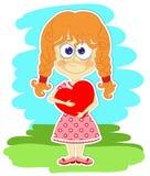 Grappig meisje met hart in haar handen stock illustratie