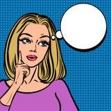 Grappig meisje met toespraakbel Pop Art Woman-teken Royalty-vrije Stock Afbeelding