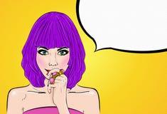 Grappig meisje met toespraakbel Pop-artmeisje Het uitstekende etiket van de theetijd De kaart van de groet De ster van de Hollywo Stock Foto