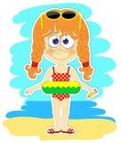 Grappig meisje met zwemmende cirkel royalty-vrije illustratie
