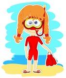Grappig meisje in zwempak en masker royalty-vrije illustratie