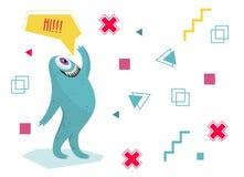 Grappig monster die zijn hand golven Geometrische kleurrijke achtergrond Het karakter van het beeldverhaal dialoog Royalty-vrije Stock Foto's