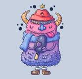 Grappig monster in een hoed met hoornen Monster met roomijs Beeldverhaalillustratie voor druk en Web Karakter in stock illustratie