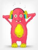 Grappig Monster. Het luisteren aan Muziek. Royalty-vrije Stock Afbeeldingen