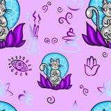 Grappig naadloos patroon die met beeldverhaalkat yogapositie doen Kattenmeditatie in lotusbloem Gezond levensstijlconcept stock fotografie