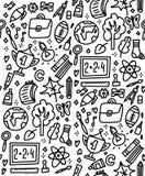 Grappig naadloos patroon met schoollevering en creatieve elementen Terug naar schoolachtergrond voor onderwijs, wetenschapsvoorwe royalty-vrije illustratie