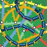 Grappig naadloos treinenpatroon Stock Afbeelding
