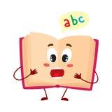 Grappig open ABC-boekkarakter met verraste gezichtsuitdrukking vector illustratie