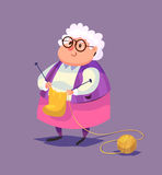 Grappig oud vrouwenkarakter Vector Royalty-vrije Stock Fotografie