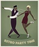 Grappig paar dansend Charleston royalty-vrije illustratie