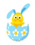 Grappig Pasen-kuiken met konijntjesoren in een ei royalty-vrije illustratie