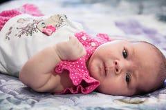 Grappig portret van een pasgeboren meisje Royalty-vrije Stock Foto's