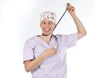 Grappig portret van wanhopige arts Stock Foto's