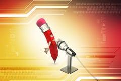 Grappig potlood met microfoon Stock Foto's