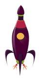 Grappig Rocket Ship Illustratie van een beeldverhaalruimteschip op wit Stock Foto's