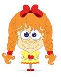 Grappig rood-haarmeisje met hart Stock Afbeelding