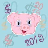 Grappig roze varken Chinese horoscoop vector illustratie