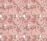 Grappig roze varkens naadloos vectorpatroon royalty-vrije illustratie