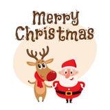 Grappig Santa Claus en rendier in rode sjaal die zich verenigen Stock Afbeelding