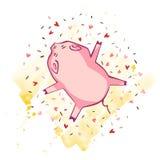 Grappig varken Geïsoleerd op wit Leuke vectorillustratie Symbool van het jaar in de Chinese kalender vector illustratie