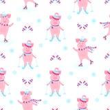 Grappig varken op vleten Het leuke piggy ski?en Biggetjes op de wintervakantie Beeldverhaalvarkens in openlucht Naadloos patroon vector illustratie