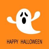 Grappig vliegend spook het Gillen gezicht Gelukkig Halloween De kaart van de groet Leuk beeldverhaalkarakter Enge geest Babyinzam Stock Foto's
