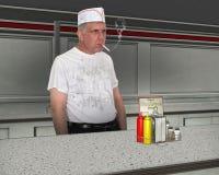 Grappig Vuil Restaurant Cook, Chef-kok Royalty-vrije Stock Afbeeldingen