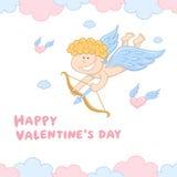Grappig Weinig Cupido met Boog en Pijl Royalty-vrije Stock Afbeelding