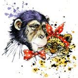 Grappige aap, luipaard, waterverfachtergrond Royalty-vrije Stock Foto