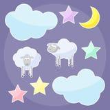 Grappige achtergrond met maan, wolken, sterren en schapen Stock Afbeeldingen