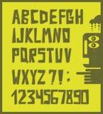 Grappige alfabetbrieven met aantallen in retro stijl Stock Foto's