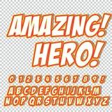 Grappige alfabetreeks Letters, getallen en cijfers voor de banners van de de websitesstrippagina van jonge geitjes` illustraties Stock Foto