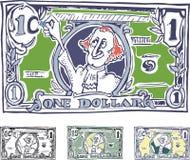 Grappige Amerikaanse dollar. De verhoging van nominaal Royalty-vrije Stock Afbeelding