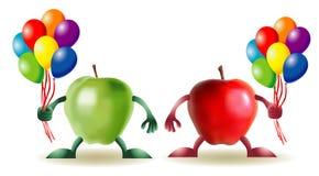 Grappige appelen met baloons Royalty-vrije Stock Afbeeldingen