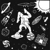 Grappige astronaut die yoga op planeten in ruimteontwerp voor druk, illustratie doen en boekpagina voor jonge geitjes en volwasse Stock Afbeeldingen