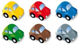 Grappige auto die in zes verschillende geïsoleerder kleuren wordt geplaatst Stock Afbeelding