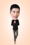 Grappige Aziatische grote hoofdmens Royalty-vrije Stock Afbeelding
