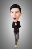 Grappige Aziatische grote hoofdmens Stock Afbeelding