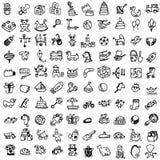 Grappige babypictogrammen vectorkrabbelinzameling van hand getrokken pictogrammen F stock illustratie