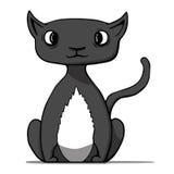 Grappige beeldverhaal zwarte kat. Vectorillustratie Stock Fotografie