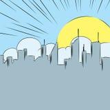 Grappige beeldverhaalachtergrond met cityscape, wolken en Zon vector illustratie