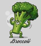 Grappige beeldverhaalbroccoli Stock Foto's