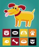 Grappige beeldverhaalhond en pictogrammen Royalty-vrije Stock Foto's