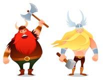 Grappige beeldverhaalillustratie van de strijders van Viking Stock Foto