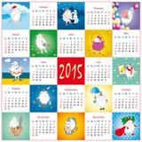 Grappige beeldverhaalkalender met schapen Stock Afbeeldingen