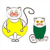 Grappige beeldverhaalkatten in legging op een witte achtergrond Stock Foto