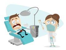 Grappige beeldverhaalmens bij de tandarts Royalty-vrije Stock Afbeelding