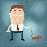 Grappige beeldverhaalmens met hond op een regenachtige dag Royalty-vrije Stock Afbeeldingen