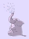 Grappige beeldverhaalolifant Stock Afbeelding